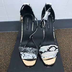 Shoe dazzle Izabella Rue snakeskin sandal heels